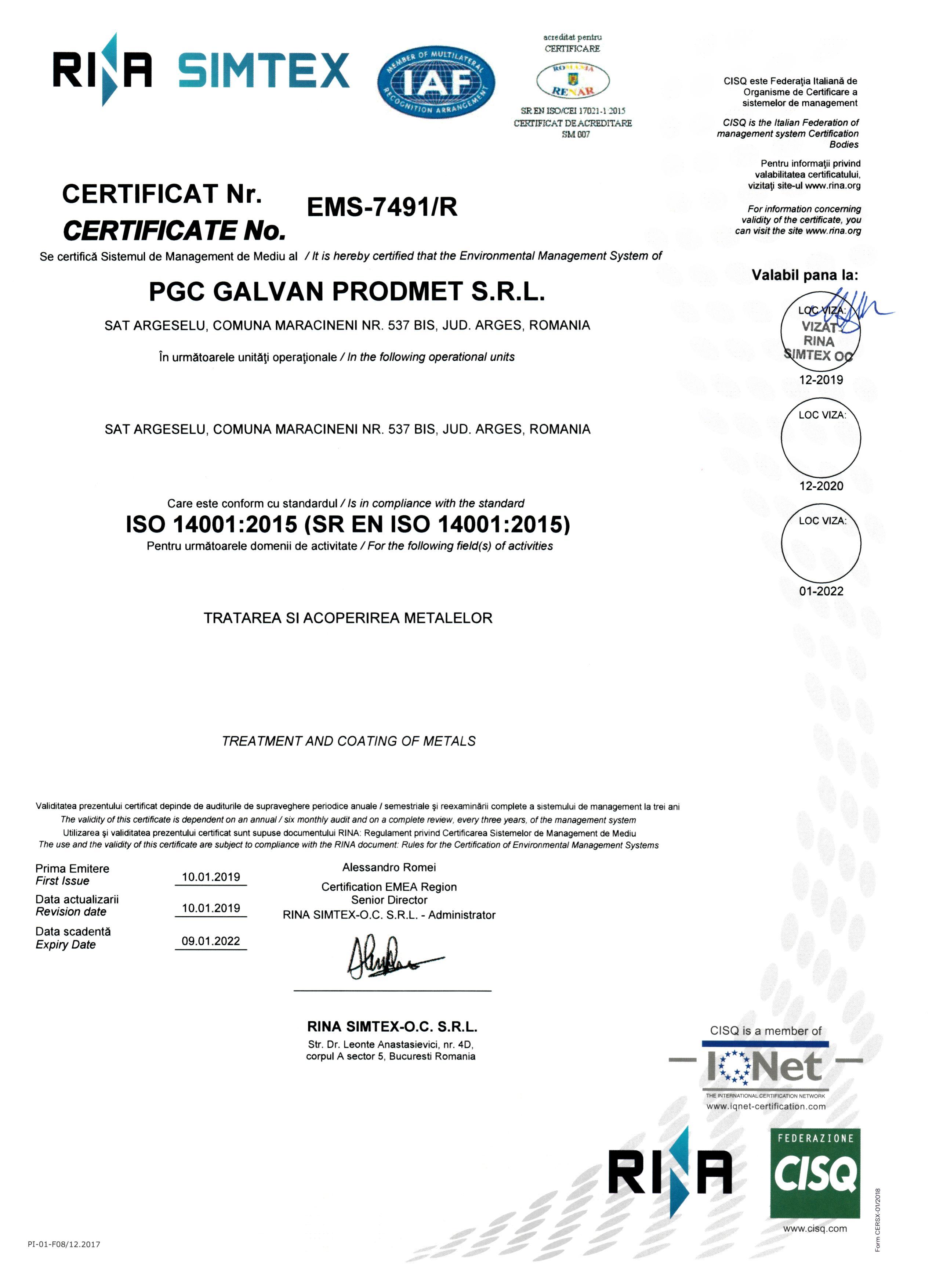 certificare 14001 Mediu