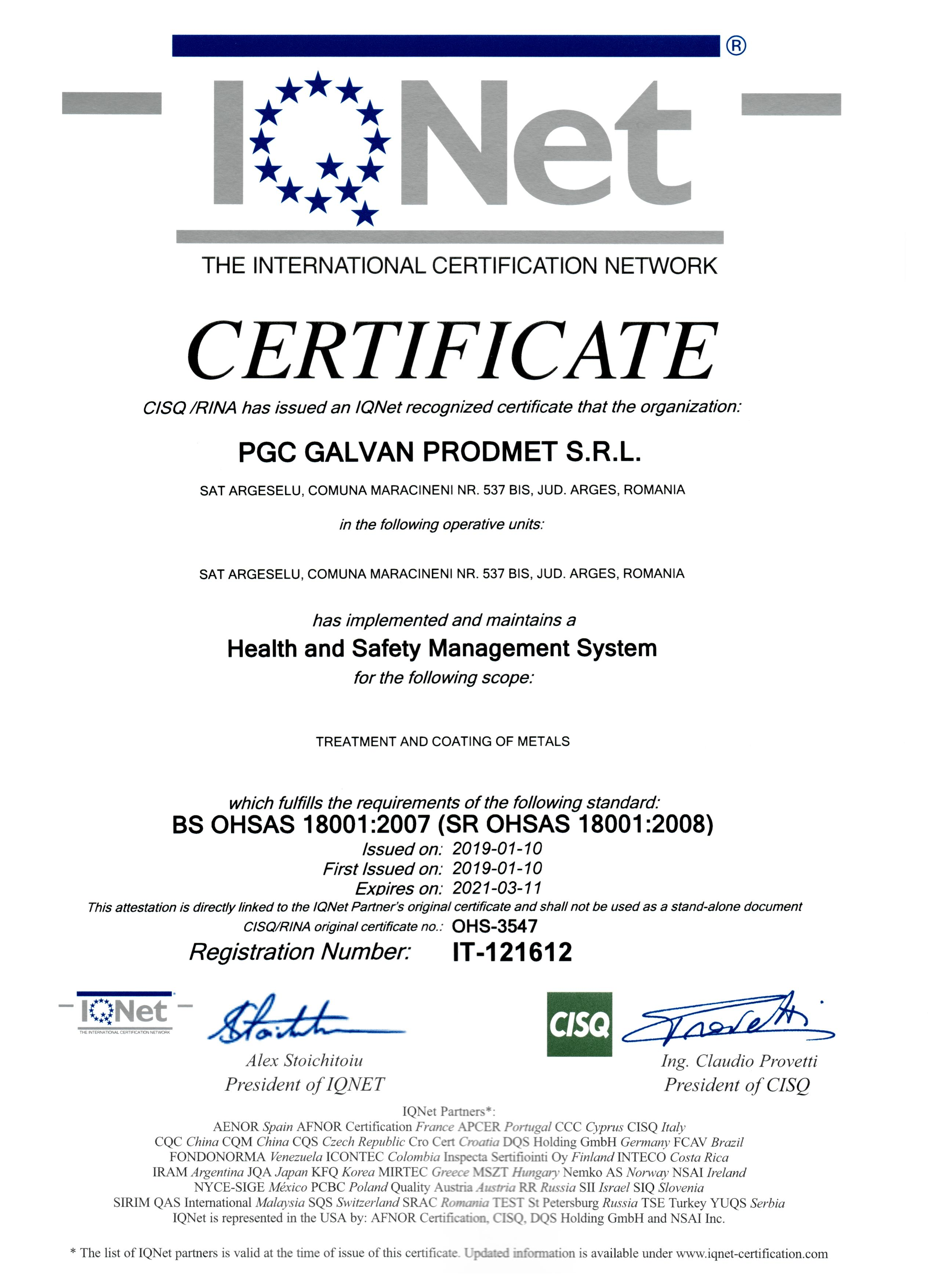certificate Health and Safety management