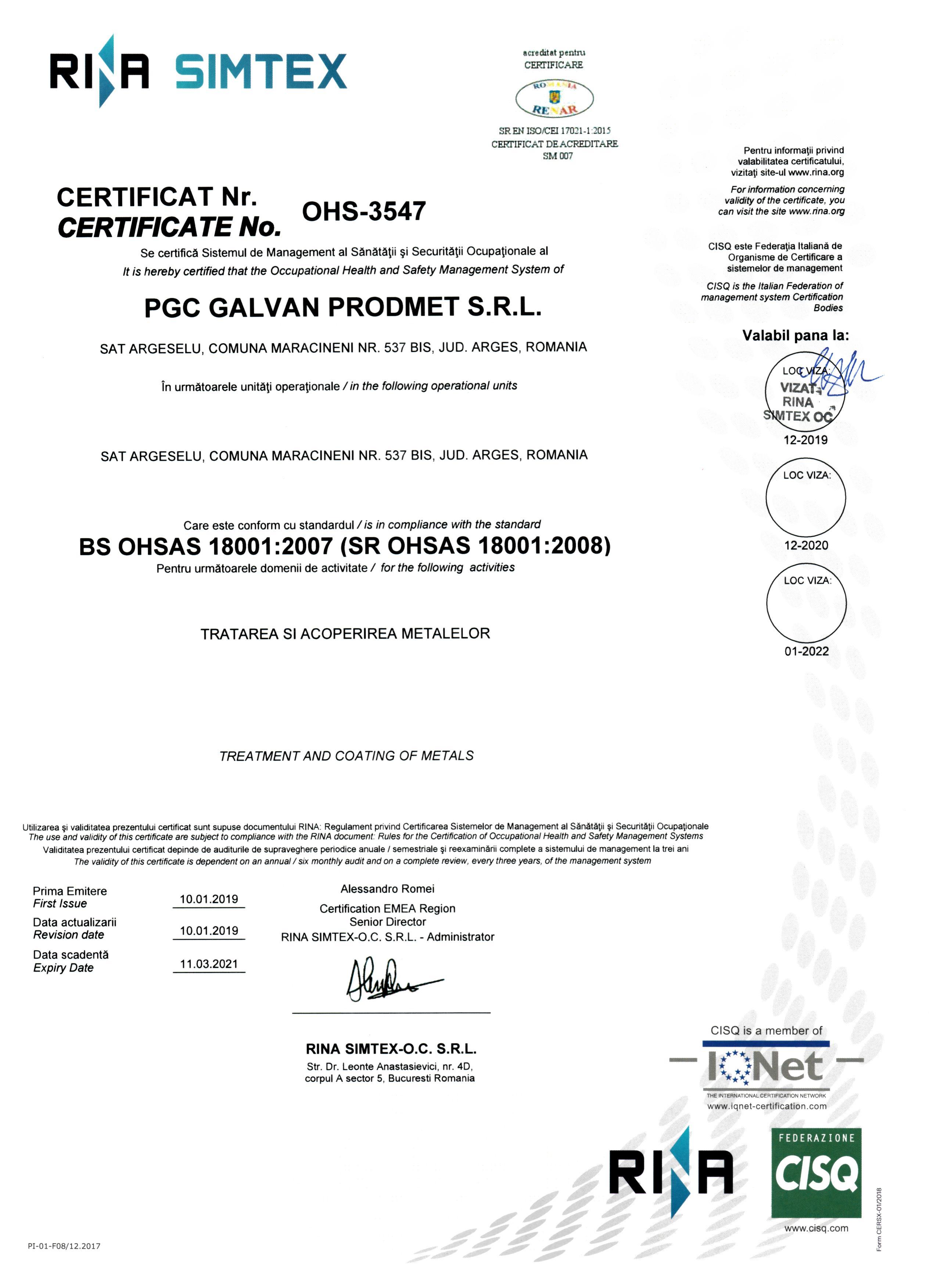 certificare SSM 18001